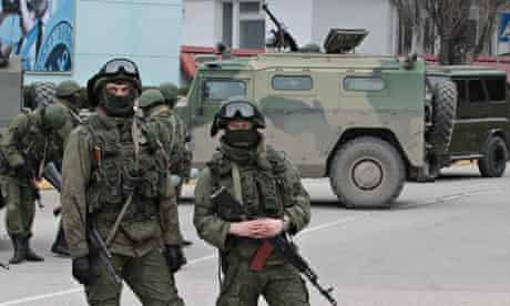Soldiers at a base of the Sevastopol naval guard detachment