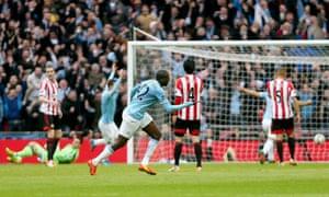 Yaya Toure celebrates his incredible equaliser for Man City.
