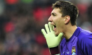 Costel Pantilimon has a few choice words for his defence as Man City come under pressure.