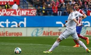 Real Madrid's Karim Benzema opens the scoring.