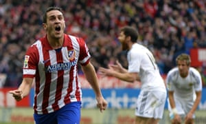Atletico Madrid's midfielder Koke celebrates his well taken equaliser.
