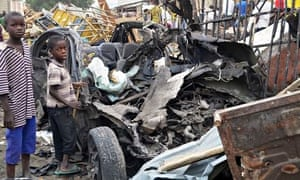 Aftermath of bomb attack in Maiduguri