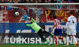 Gabi Fernandez lashes one from out of shot - and it flies past Diego López in the Real Madrid goal.