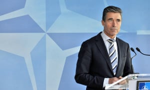 Nato's secretary general, Anders Fogh Rasmussen, speaking to the media at the alliance's headquarters in Brussels on Sunday.