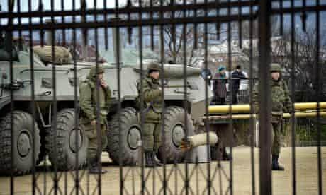The Ukrainian marine base in Feodosia, Crimea, surrounded by Russian soldiers
