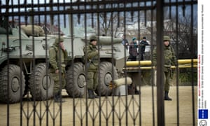 The Ukrainian marine base at Feodosia, Crimea, which has been surrounded by Russian troops.