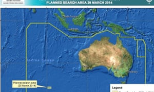 Australia's revised search area for the missing Malaysian flight following possible object sightings on Thursday.