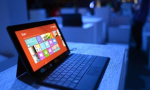 A Microsoft Surface tablet at the Windows 8 launch.a