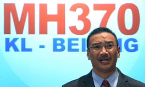 Malaysian acting transport minister Hishammuddin Hussein speaks at a press conference in Sepang.