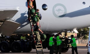 Royal Australian Air Force crew members from an AP-3C Orion arrive back in Perth after completing the first search mission to an area where possible debris from the missing Malaysia Airline was detected. The mission failed to locate any debris.