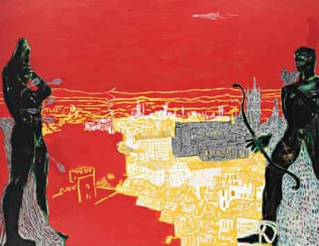 Red Sienna, 1985, by Peter Doig