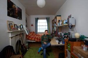 Oscar Lloyd, 16, in his bedroom in Deal, Kent.