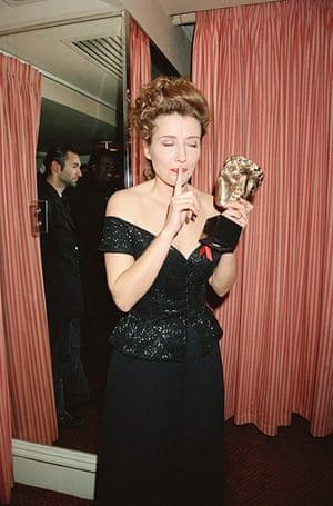 Emma Thompson: Emma Thompson with BAFTA award Howard's End