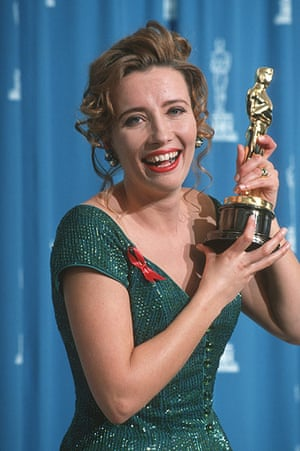 Emma Thompson: Emma Thompson with her Oscar at the 65th Annual Academy Awards
