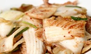 Kimchi is made from napa cabbage, garlic, seasoning and chilli powder