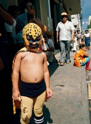 Mexican wrestler at carnival, Merida, Mexico, 1982.