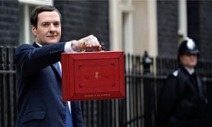 George Osborne holds his red despatch box containing budget details