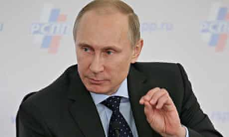 Vladimir Putin speaking at a press conference