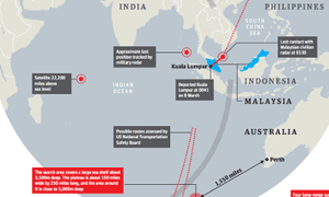 Southern Indian Ocean search area