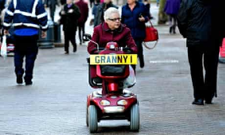 Pensioner on mobility scooter