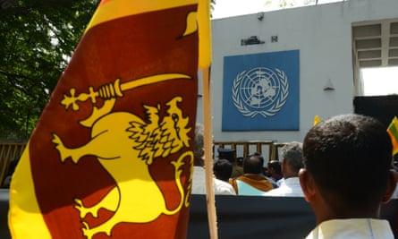 Activists protest a proposed UN resolution to investigate Sri Lanka for alleged war crimes.
