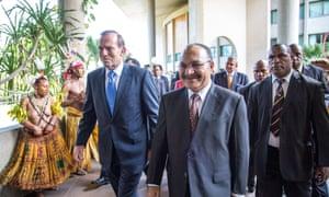 Tony Abbott and Peter O'Neill
