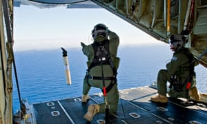 A drifting buoy measuring ocean currents is launched by the Australian air force in search for MH370