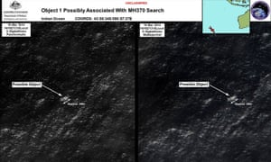 Satellite image of objects that may be possible debris of the missing Malaysia Airlines Flight MH370 over the Southern Indian Ocean.