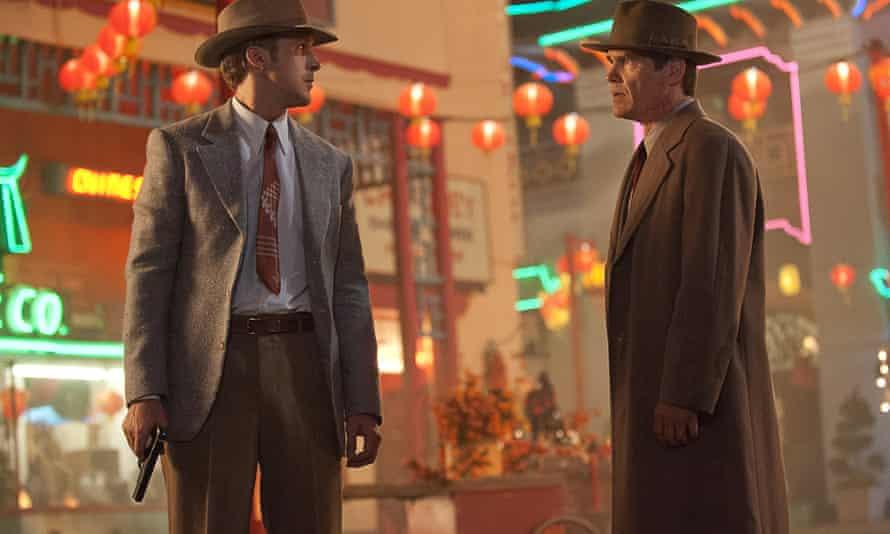 """This film image released by Warner Bros. Pictures shows  Ryan Gosling, left, as Sgt. Jerry Wooters, and Josh Brolin, as Sgt. John O'Mara in  Gangster Squad."""""""