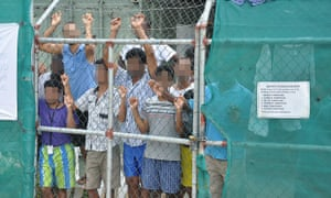 Asylum seekers at the Manus Island detention centre in Papua New Guinea.