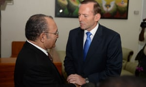 Peter O'Neill and  Tony Abbott in Port Moresby.