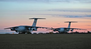 Two Chinese  Ilyushin IL-76s aircraft sit on the tarmac at RAAF Pearce base near Perth ready to join the search for MH370.