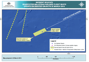 Latest map of Indian Ocean wreckage search
