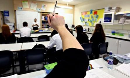 Teacher in a school classroom