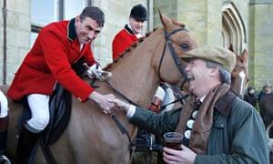 Nigel Farage shakes hands with huntsman