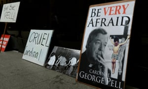 Anti-Pell placards outside the royal commission in Sydney