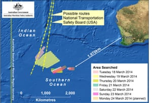 A map from the Australian Maritime Safety Authority shows the planned search area for missing Malaysian Airlines Flight MH370. French authorities reported a satellite sighting of objects in the southern Indian Ocean where China and Australia have also reported sighting potential debris from missing flight MH370. Ten aircraft from Australia, China, the United States, New Zealand and Japan will engage in the search today, approximately 2500km south-west of Perth.