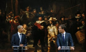 Barack Obama and Dutch prime minister Mark Rutte in front of Rembrandt's The Night Watch at the Rijksmuseum in Amsterdam.