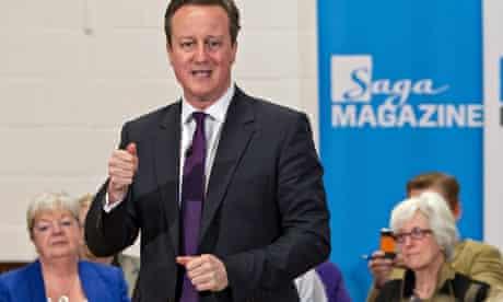 David Cameron speaks at a Saga event in Peacehaven, near Brighton