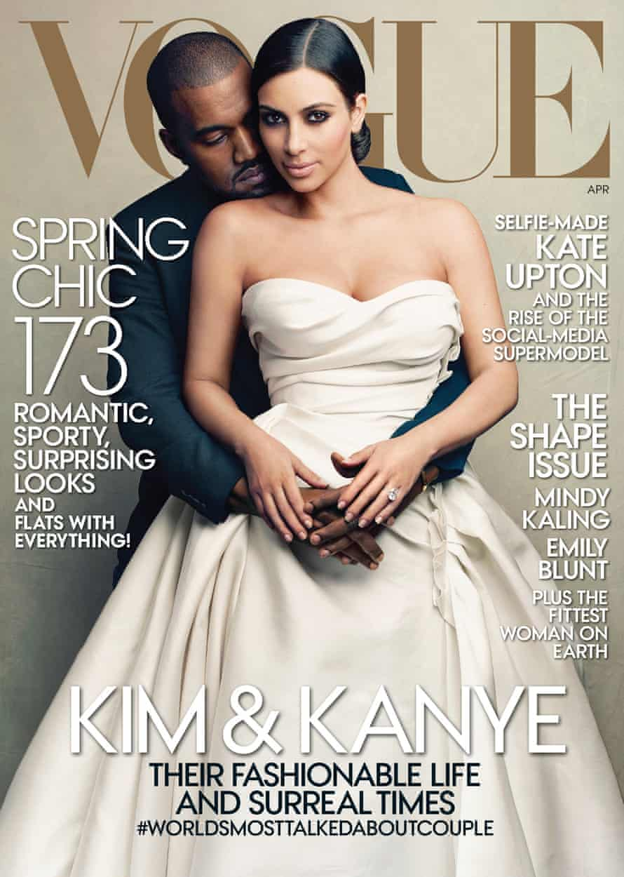 This cover image taken by Annie Leibovitz for Vogue shows the April 2014 issue of the high fashion magazine featuring rapper Kanye West and TV personality Kim Kardashian. The April issue hits newsstands nationwide on March 31 and will be available on March 24 as a digital download for tablets. (AP Photo/Vogue, Annie Leibovitz)