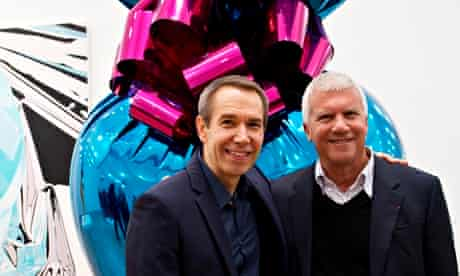 Larry Gagosian, right, with Jeff Koons.