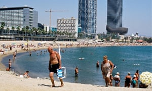 Older people on a beach in spain