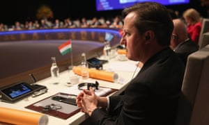 British Prime Minister David Cameron at the opening session of the Nuclear Security Summit in The Hague.