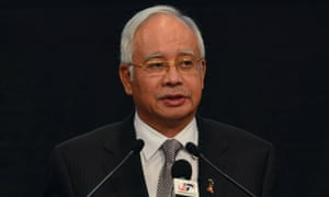 "Malaysia prime minister Najib Razak speaks during a press conference where he announced that the missing Malaysia Airlines flight MH370 ""ended"" in the Indian Ocean."