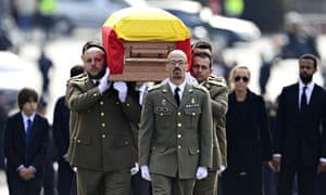 Members of the military carry the coffin of Adolfo Suarez in Spain
