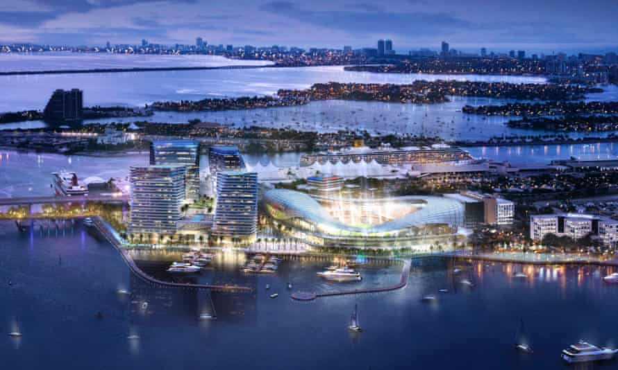 This image courtesy Miami Beckham United shows an artist rendering of a proposed MLS stadium  between Biscayne Bay and downtown Miami, Florida.