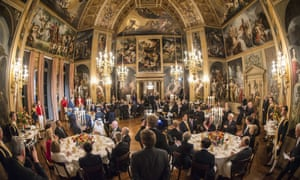 King Willem Alexander (far-left) delivers a speech during a dinner for the members of the 2014 Nuclear Security Summit, at the Royal Palace Huis ten Bosch in The Hague.