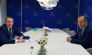 Russia's Foreign Minister Sergey Lavrov, right, meets with Ukrainian Foreign Minister Andriy Deshchytsia at the Nuclear Security Summit (NSS) in The Hague.