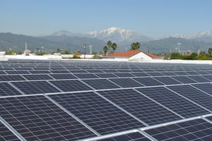 Corporate green energy: Solar panels on a Walmart store in Covina, California