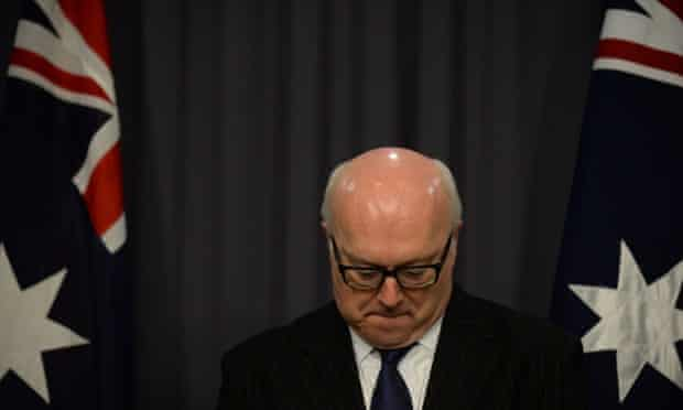 George Brandis at a press conference at Parliament House in Canberra.